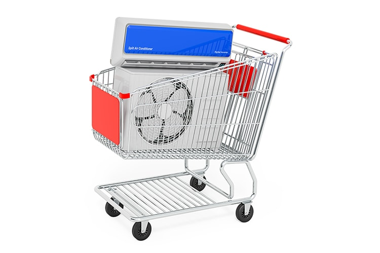 air conditioner in shopping cart
